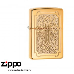 Зажигалка широкая Zippo Armor Eccentric Cross Deep Carved High Polish Brass 29436