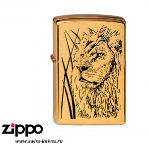 Зажигалка широкая Zippo Classic Proud Lion Brushed Brass 204B Proud Lion