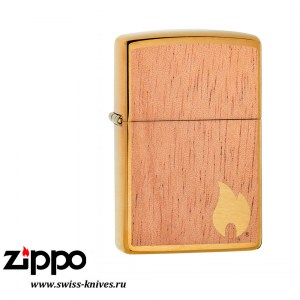 Зажигалка широкая Zippo Classic WOODCHUCK USA Flame Emblem Brushed Brass 29901