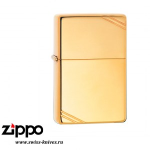Зажигалка широкая Zippo Vintage w/Slashes High Polish Brass 270