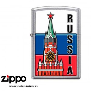 Зажигалка широкая Zippo Classic Московский кремль Street Chrome 207 KREMLIN FLAG RUSSIA