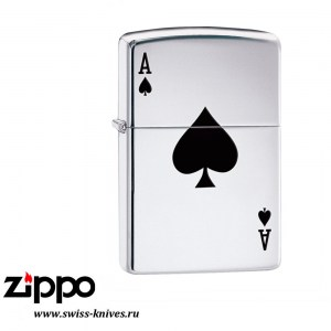 Зажигалка широкая Zippo Armor Lucky Ace High Polish Chrome 24011