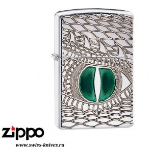 Зажигалка широкая Zippo Armor Dragon Eye High Polish Chrome 28807