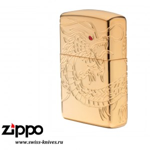 Зажигалка широкая Zippo Armor Multicut Dragon High Polish Gold Plate 29265