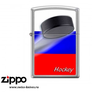 Зажигалка широкая Zippo Classic Российский хоккей Brushed Chrome 200 RUSSIAN HOCKEY PUCK