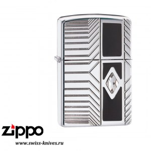 Зажигалка широкая Zippo Armor Classy Tech Design High Polish Chrome 29669