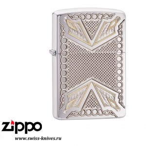 Зажигалка широкая Zippo Armor Arrows Brushed Chrome 28808
