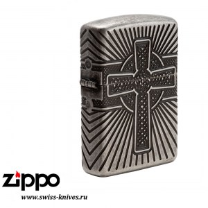Зажигалка широкая Zippo Armor Celtic Cross Design Antique Silver 29667