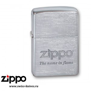 Зажигалка широкая Zippo Classic Name In Flame Brushed Chrome 200 Name in flame