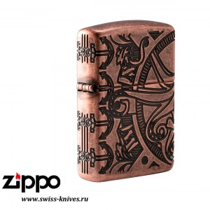 Зажигалка широкая Zippo Armor Nautical Scene Design Antique Copper 49000