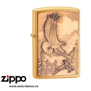 Зажигалка широкая Zippo Classic Where Eagles Dare Emblem Brushed Brass 20854