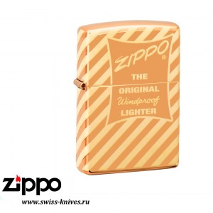 Зажигалка широкая Zippo Classic Vintage Box Top High Polish Brass 49075