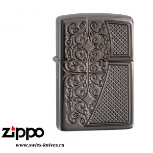 Зажигалка широкая Zippo Armor Old Royal Filigree Black Ice 29498