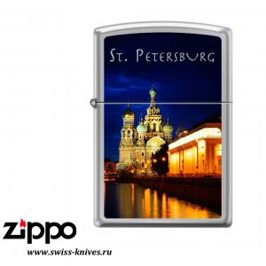 Зажигалка широкая Zippo Храм Спаса-на-Крови High Polish Chrome 250 ST PETERSBURG CHURCH