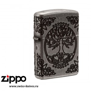 Зажигалка широкая Zippo Armor Tree of Life Antique Silver 29670