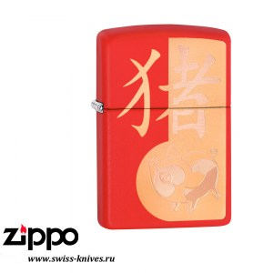Зажигалка широкая Zippo Classic SE 2019 Year of the Pig Design Red Matte 29661