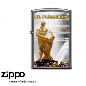 Зажигалка широкая Zippo Classic Петергоф Gray Dusk 28378 PETERHOF