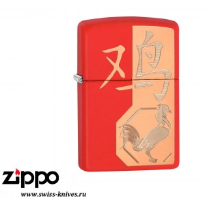 Зажигалка широкая Zippo Classic SE 2017 Year Of The Rooster Red Matte 29259