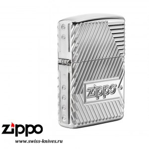 Зажигалка широкая Zippo  Armor Bolts Design High Polish Chrome 29672