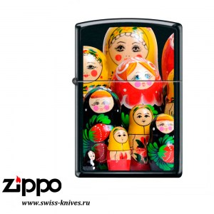 Зажигалка широкая Zippo Classic Матрёшки Black Matte 218 MATROSHKA DOLL