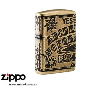 Зажигалка широкая Zippo Armor Ouija Board Design Antique Brass 49001