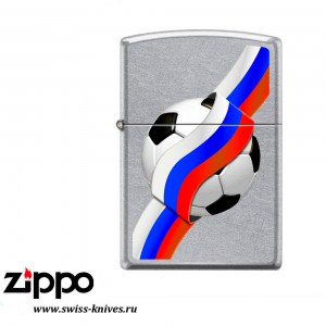 Зажигалка широкая Zippo Classic Российский футбол Street Chrome 207 RUSSIAN SOCCER