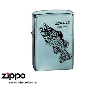 Зажигалка широкая Zippo Classic Black Bass Brushed Chrome 200 BLACK BASS