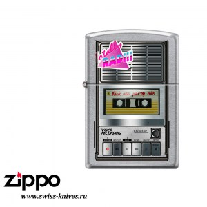 Зажигалка широкая Zippo Classic Магнитофон Street Chrome 207_recorder