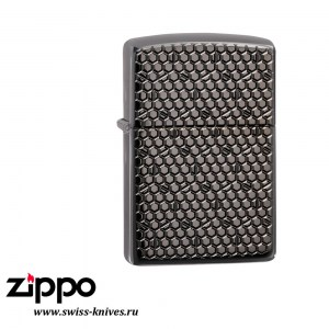 Зажигалка широкая Zippo Armor Hexagon Design Black Ice 49021